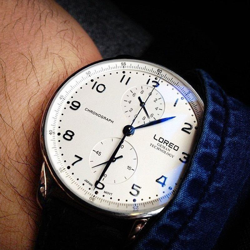 LOREO Men Watches Brand Genuine Leather Clock Luxury Gold Casual Watch Men's Quartz Sports Wrist Watch Relogio Masculino M33