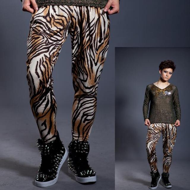 2016 primavera verão novas casas noturnas calças moda leopardo, Mens harem pants finas, Personalidade Hairstylist calças de dança 27 - 38
