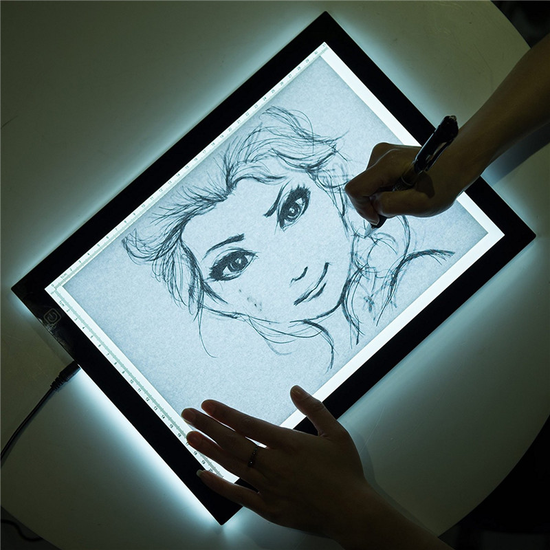 A4 Adjustable Stepless Brightness LED Light Box For Tracer Copy Artist Thin Art Stencil Drawing Tracing Board Table Pad m way 35x23x0 52cm ultra thin pencil drawing table graphics tablet a4 led copy adjustable brightness tracing copyboard