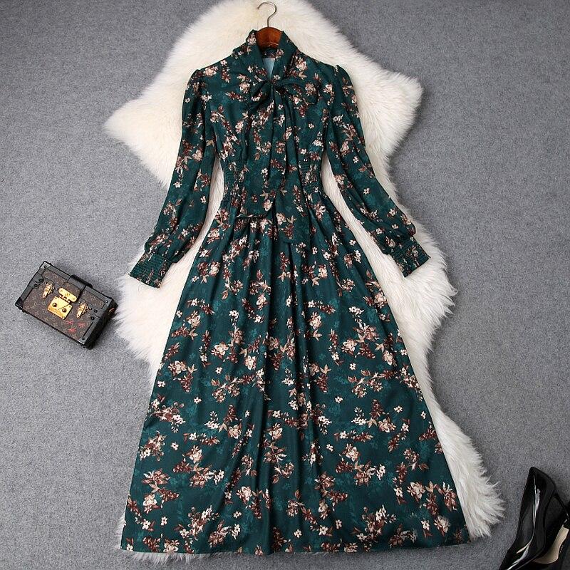 Dames Ouverture Femmes Des Summer Robes De Mode Prairies Soirée Dame Chic 2019 New Fleur Spring Longue Imprimer Fourchette Bureau Vert Robe rdCthsQx