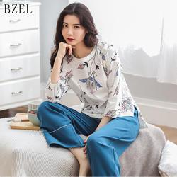 BZEL новые женские пижамы Пижама с длинными рукавами с рисунком Женская пижама комплекты ночной костюм круглый Ночная Пижама с горловиной