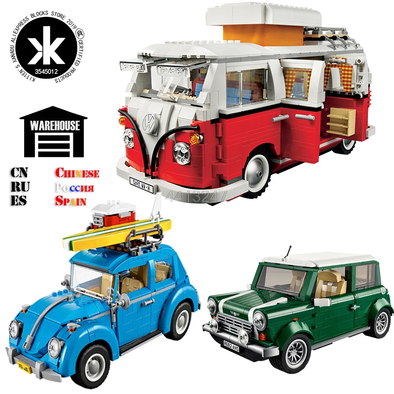 Creator Retro car Toy Legoing Technic Series Cooper T1 Camper Van Light Set Compatible Legoing Car