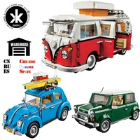 Creator Retro car Toy Legoing Technic Series Cooper T1 Camper Van Light Set Compatible Legoing Car Blocks Kids Toys For Children