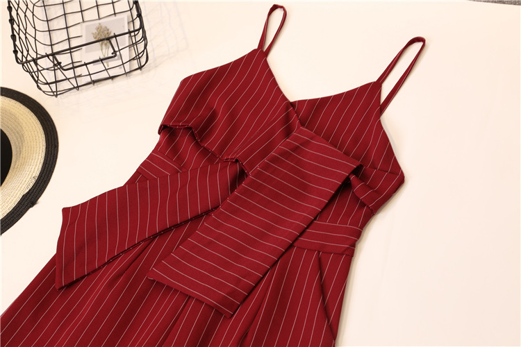 Summer Stripe Camisole Jumpsuit Women V-neck Striped Sexy High Waist Wide Leg Pants Office Ladies Red Black Overall Bodysuit 99