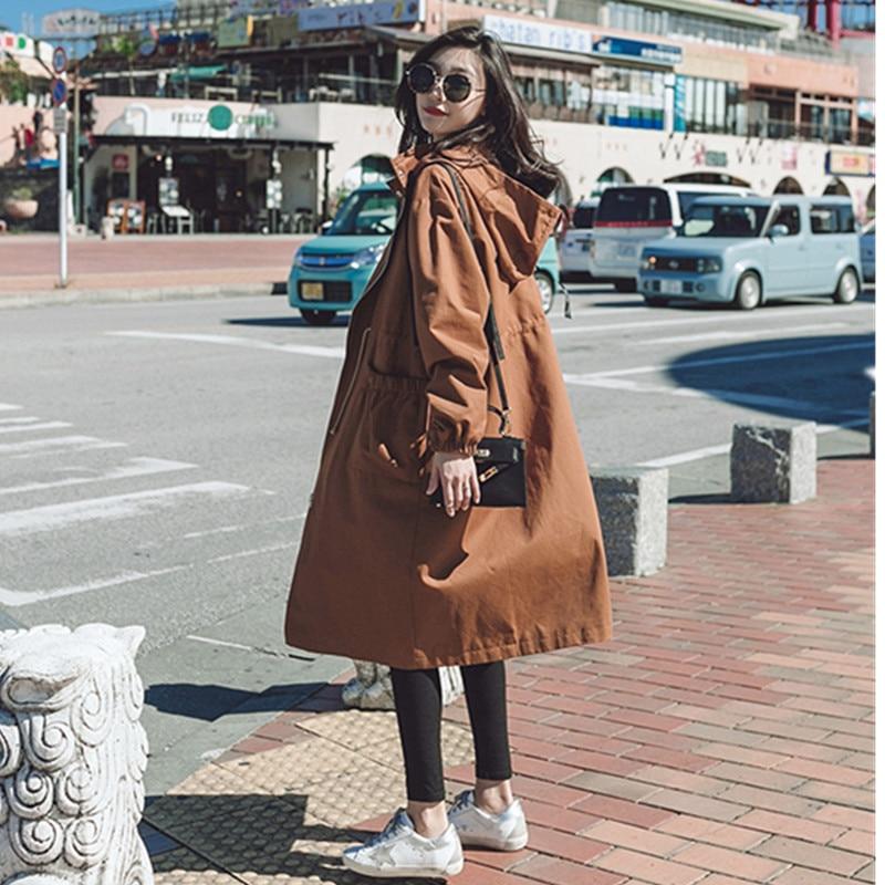 2019 Lâche Long Femmes Manteau La Trench Femelle Capuche Hauts Dark vent Coupe De Automne Colour Printemps coat Green Décontracté Mince Genou Outwear Coréenne caramel L354ARjq