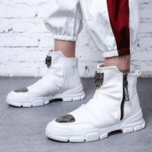 2019 New Chinese Skateboarding Shoes Men High Leisure Hip Hop Shoe Sneaker Flat Zip Slip On Leather Spring Hot Original Teenager