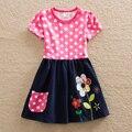 Al por mayor nueva chica ropa bordados de flores de verano de manga corta de algodón ropa de los niños Un vestido palabra cuello redondo H5748