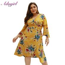 Plus Size Summer Dress Casual Boho Flora Print Mini Women Sexy V Neck Holiday Beach Dresses Lady Big Party Vestidos