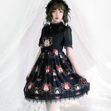 Gothic Lolita Victorian Dress JSK Black Evening Gown Printed Sleeveless Halloween Costume For Women Sweet Loli Plus Size the carousel sweet printed lolita casual jsk dress by alice girl