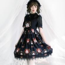Gothic Lolita Victorian Dress JSK Black Evening Gown Printed Sleeveless Halloween Costume For Women Sweet Loli Skirt Plus Size все цены