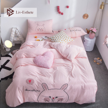 Liv-Esthete Hot Sale Fashion Cute Kids Cartoon Bedding Set Pink Duvet Cover Flat Sheet Pillowcase Double Queen King Bed Linen