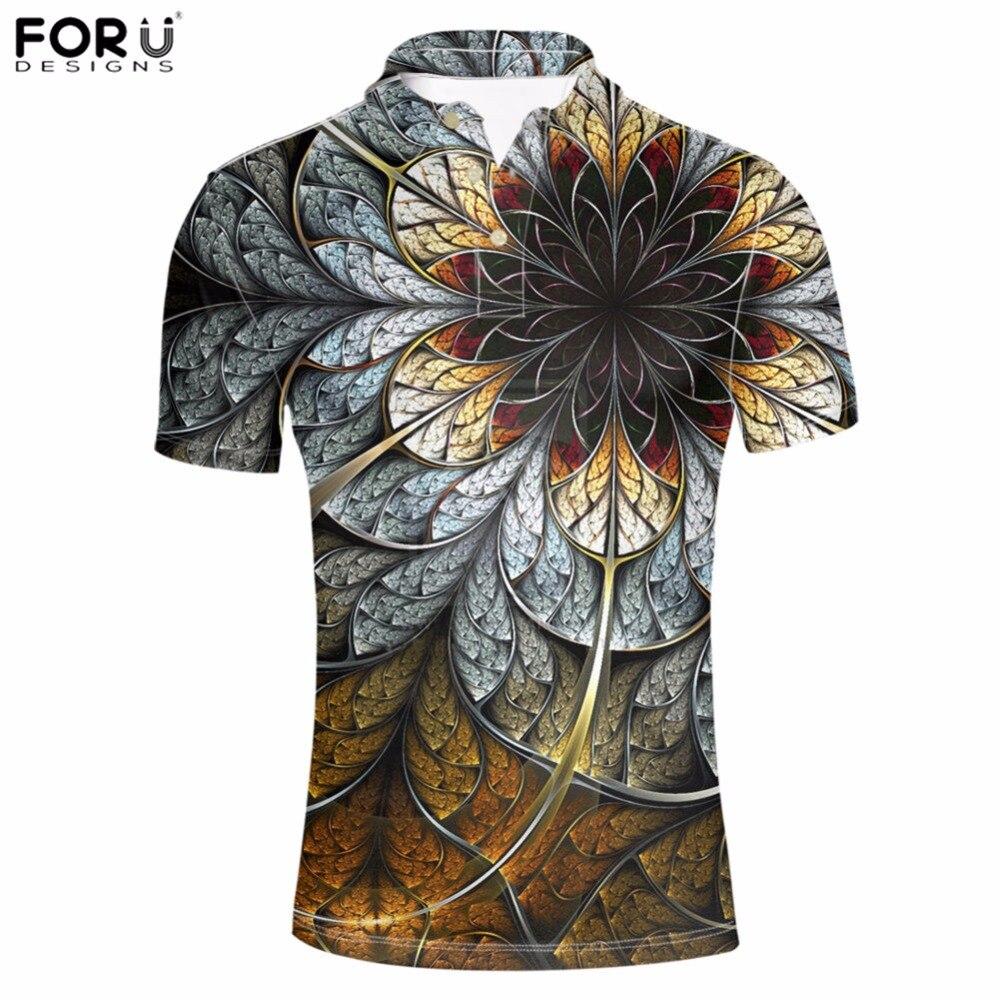 FORUDESIGNS Hommes de Polo Shirt Imprimé Floral Hommes Tops T-shirts Classique Couleur Chemise À Manches Courtes Adulte Mâle D'été Marque Vêtements chaude