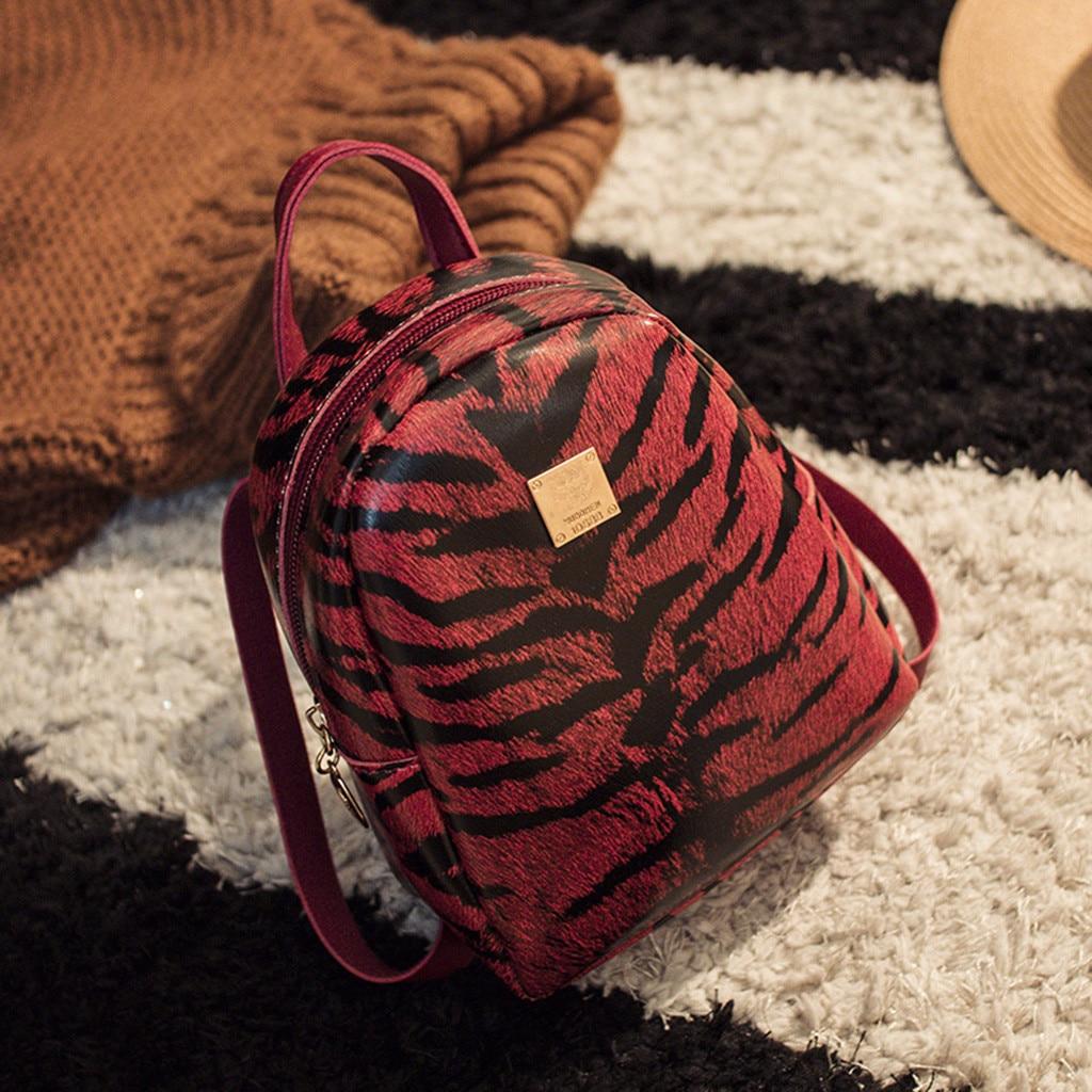 Women New Wave Tiger Leopard Shoulder Bag Small Backpack Mochilas Mujer Mochila Feminina Backpack Wave Tiger Leopard Leather