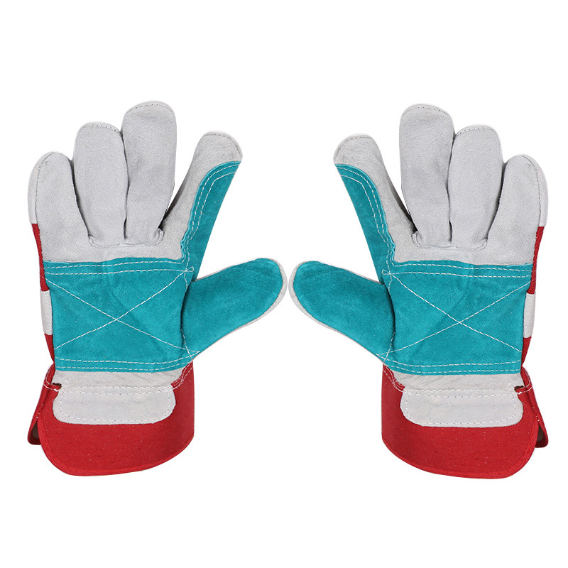 Welding welder wear-resistant insulating leather gloves Work Gloves Cowhide Leather Men Working Welding Gloves leather welding aprons wear insulated