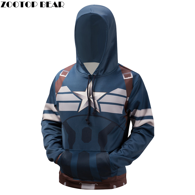 Captain American Hoodies Sweatshirt 3D Superhero Hooded Pullover Novelty Streetwear Plus 6XL Hoodies Brand Qulaity Jacket