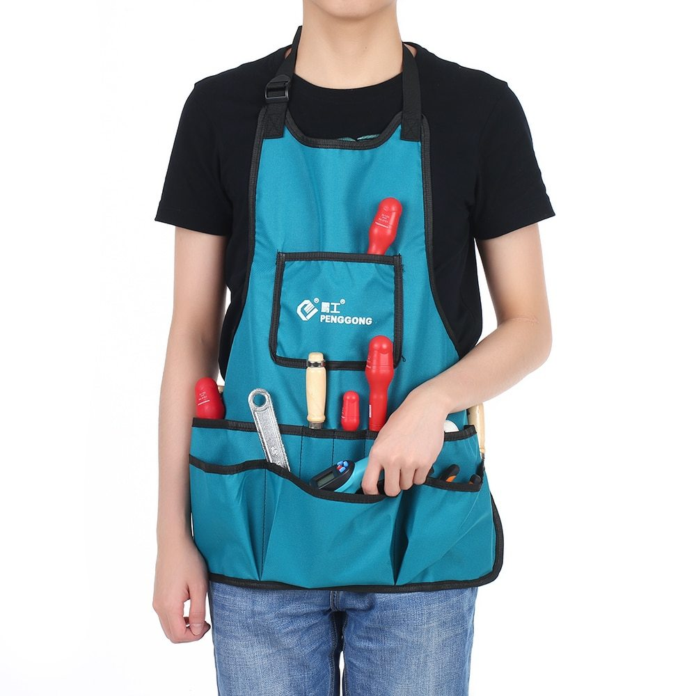 Waterproof Canvas Gardening Apron Tools Bag Electrician Tool Organizer For Toolkit Woodworking Adjustable Size Fits Men Women