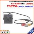 Frete grátis! Wired hd visão noturna mini câmera Sensor CMOS 700TVL Câmera de vigilância com 10 unidades de Led Infravermelho luz