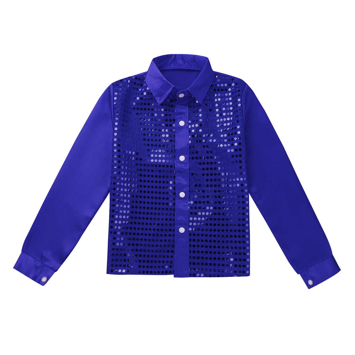 ... TiaoBug Kids Boys Shiny Sequin Long Sleeve Shirt Choir Jazz Dance  Costume Child Stage Performance Hiphop ... b26231911f36
