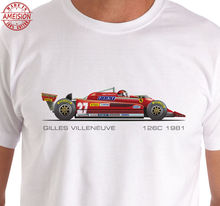 цена на 2019 Hot Sale 100% Raceart - Gilles Villeneuve 126c Grand Prix Car T-Shirt Summer Style Tee Shirt