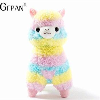 1 adet Yeni Moda 35 cm Gökkuşağı Alpaka Peluş Koyun Oyuncak Japon Yumuşak Peluş Alpacasso Doldurulmuş Hayvanlar Çocuk Brinquedos
