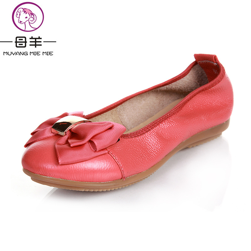 MUYANG Chinese Brand 2017 fashion Women's Shoes Woman Genuine Leather Flat Shoes Female Casual Single Shoes Women Flats vintage embroidery women flats chinese floral canvas embroidered shoes national old beijing cloth single dance soft flats