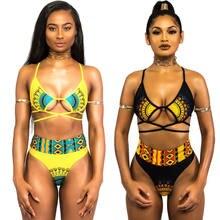 d491301f2c Black Friday Deals Africa Women High Waist Bikini Set Swimwear Push-Up  Padded Bra Bandage Swimsuit Beachwear Black Yellow