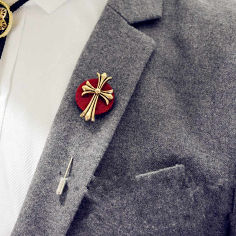 Men's formal dress brooch cross men Brooch Pin suit Accessories Lapel Pins for Men's Suit Wedding Party Long Pin brooch