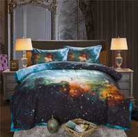 Galaxy Bedspread With Pillow Case Outer Space Quilted Blanket Bed Cover Queen Size Comforter Bedding Set