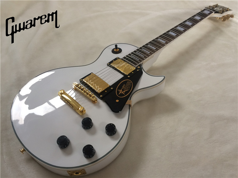 Electric guitar Gwarem lp custom white color guitar/guitar in china hot sale top quality white lp custom guitar with golden hardware electric guitar free shipping white color