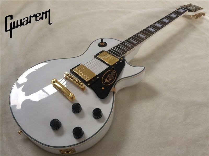 Guitare électrique Gwarem lp couleur blanche faite sur commande de guitare/guitare en chine