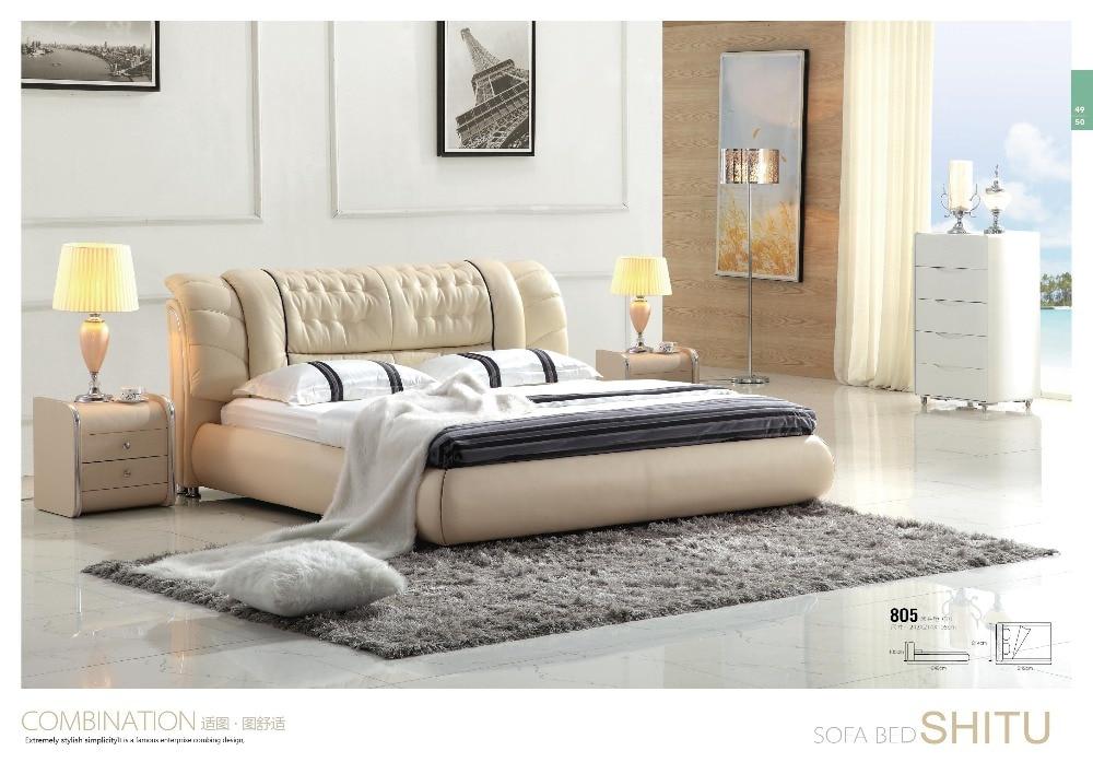 Hermoso dormitorio muebles adultos de tamaño doble cama de madera de ...