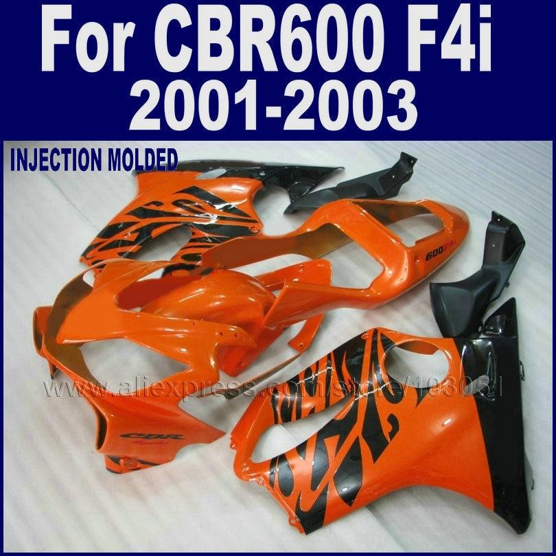 Custom motorcycle road fairings kit for Honda CBR 600 F4i 2001 2002 2003 CBR600F4i 01 02 03 orange black body repair fairing kit custom motorcycle fairing kit for honda cbr600 f4i 01 02 03 cbr600f4i 2001 2002 2003 f4i cbr600 white blue fairings set hp18