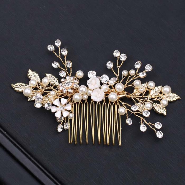 Gold Leaf Flower Pearl Rhinestone Hair Comb Wedding Hair Jewelry 5