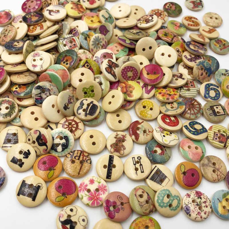 100 adet 2 delik karışık çiçek düğmeleri iğne zanaat Scrapbooking DIY dikiş dekoratif çocuk düğme giyim WB526