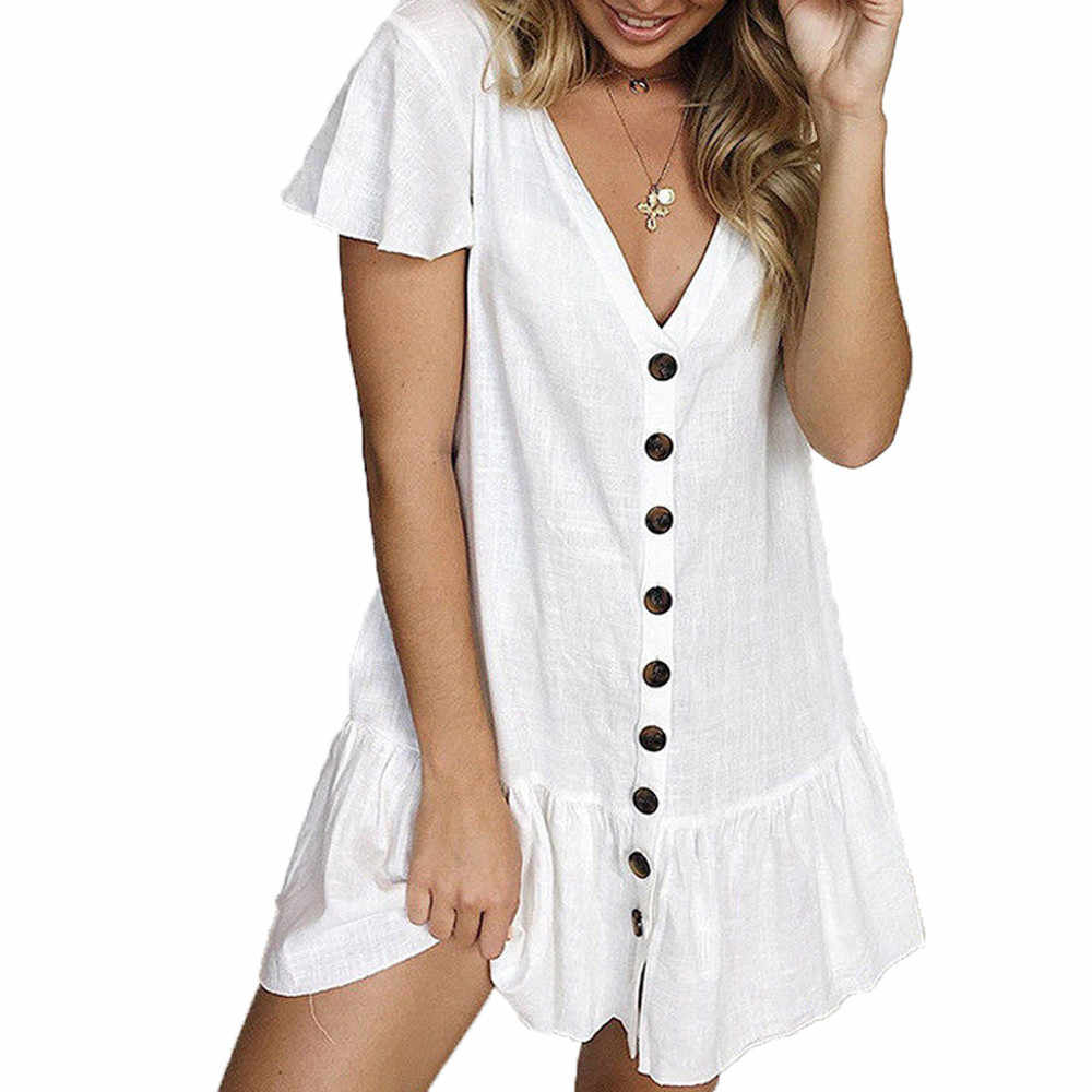 Women White Short Sleeve Mini Dress Summer Sundress Red Ruffle Botton Dresses Pocket Dress A Line Dresses Beach Sundress #30