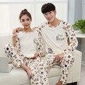 2016 Impresión de la Letra de manga larga ropa de dormir pijamas de Algodón conjunto de salón pijama feminino chica pijama Amantes Homewear Pijamas