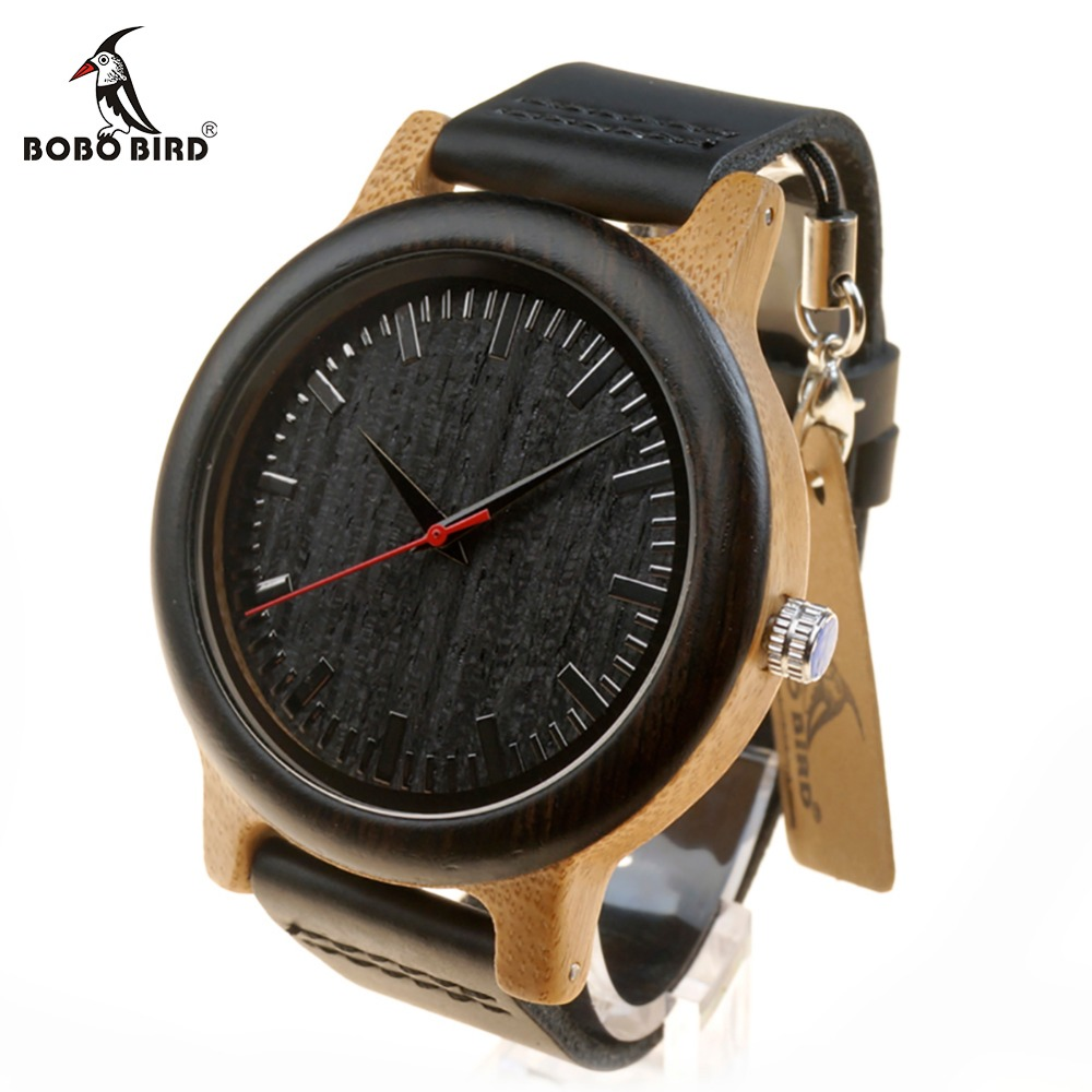 BOBO BIRD WM13 Newest Brand Design Wenge Wooden Watch Soft Leather Band Cool Bamboo Quartz Watches Carton Box