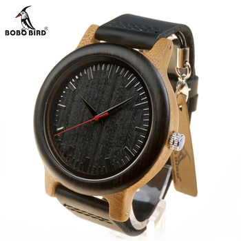 BOBO BIRD WM13 Newest Brand Design Wenge Wooden Watch Soft Leather Band Cool Bamboo Quartz Watches Carton Box Network Switches