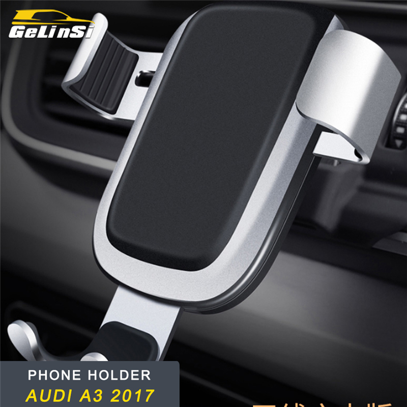 GELINSI Phone Holder Wireless Charging Mount Stand No Magnetic Mobile Gravity Smartphone Cellphone Support for Audi A3 2017 Car
