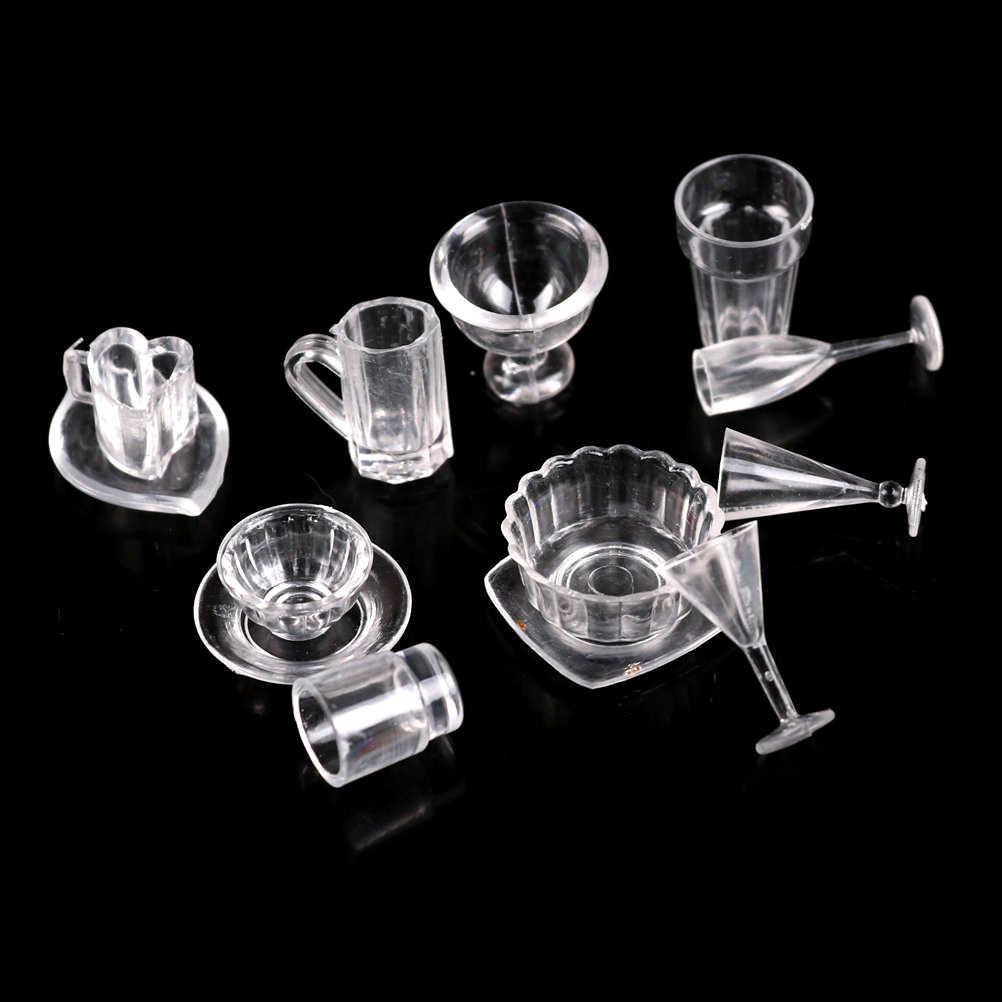 TOYZHIJIA Heißer 1 Set (13 stücke) DIY Pretend Spielen Geschirr Spielzeug Mini Transparent Trinken Tassen Teller Teller Geschirr Miniaturen