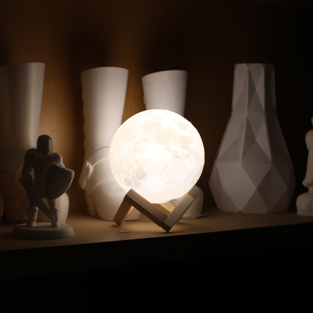 9/10/12/14/15/18cm Diameter PLA USB Rechargeable Lamp Bedroom 3D Printing Moon 3-Colors Touch Sensor Light with Wooden Stand