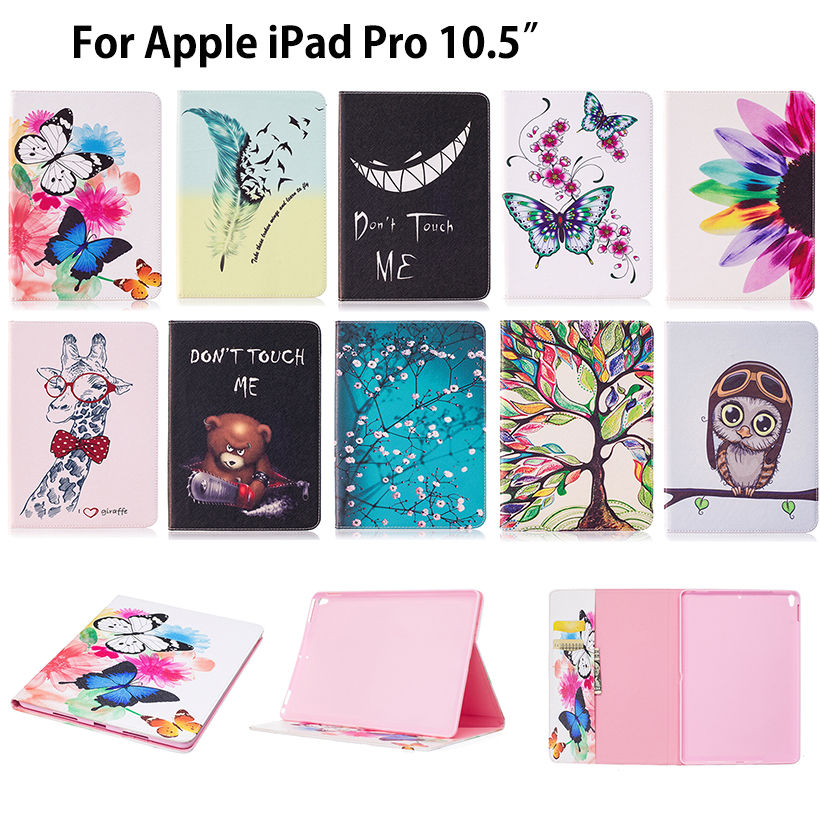 Fashion Painted PU Leather Case for Apple iPad Pro 10.5  Smart Cover Tablet Cartoon pattern Flip Stand shell skin Funda Capa case cover for apple ipad air 2 ipad 6 cartoon big mounth bear pu leather flip smart stand case for ipad a1566 a1567 protector