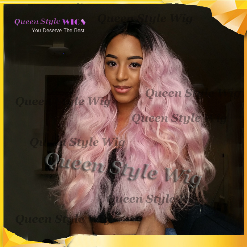New Synthetic Dark Black Roots Ombre Light Pink Natural