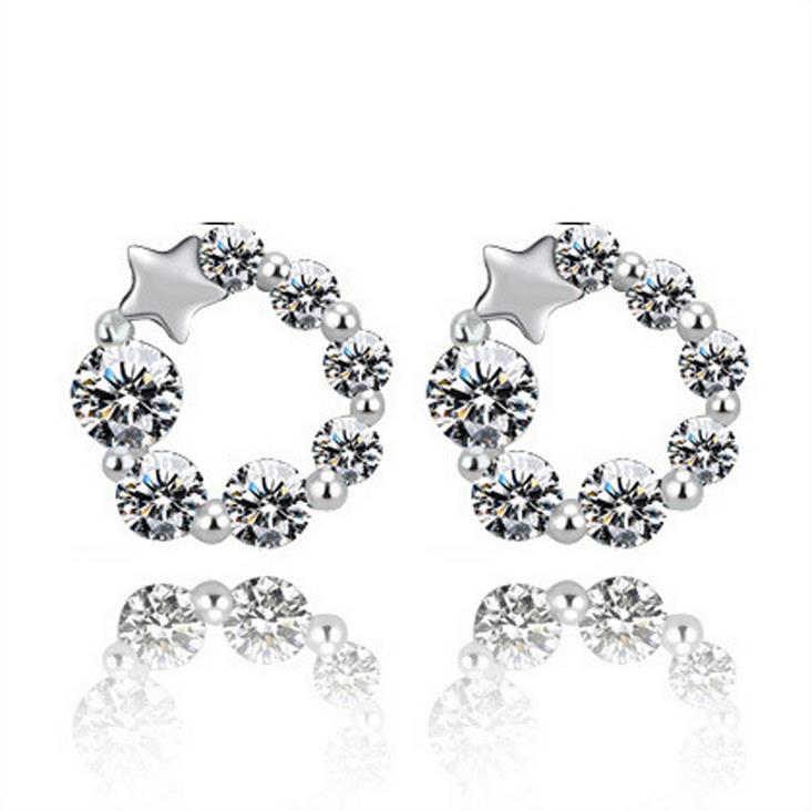 תכשיטי אוסטריה Tiffan מזל מצופה כסף אישה כוכבים עגילים צמודים לנשים קריסטל עגיל מתנת חג מולד 3Y037
