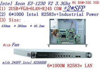 Factory direct sale 1U Network Firewall  Quad Core Xeon E3-1230 V2 3.3G 6*1000M 82583V Gigabit Nic with 2*SFP 8G RAM 32G SSD