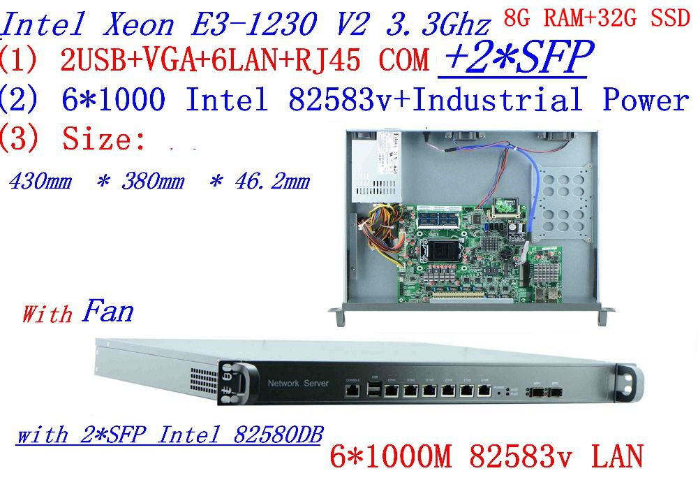 Factory direct sale 1U Network Firewall Quad Core <font><b>Xeon</b></font> <font><b>E3</b></font>-<font><b>1230</b></font> <font><b>V2</b></font> 3.3G 6*1000M 82583V Gigabit Nic with 2*SFP 8G RAM 32G SSD image