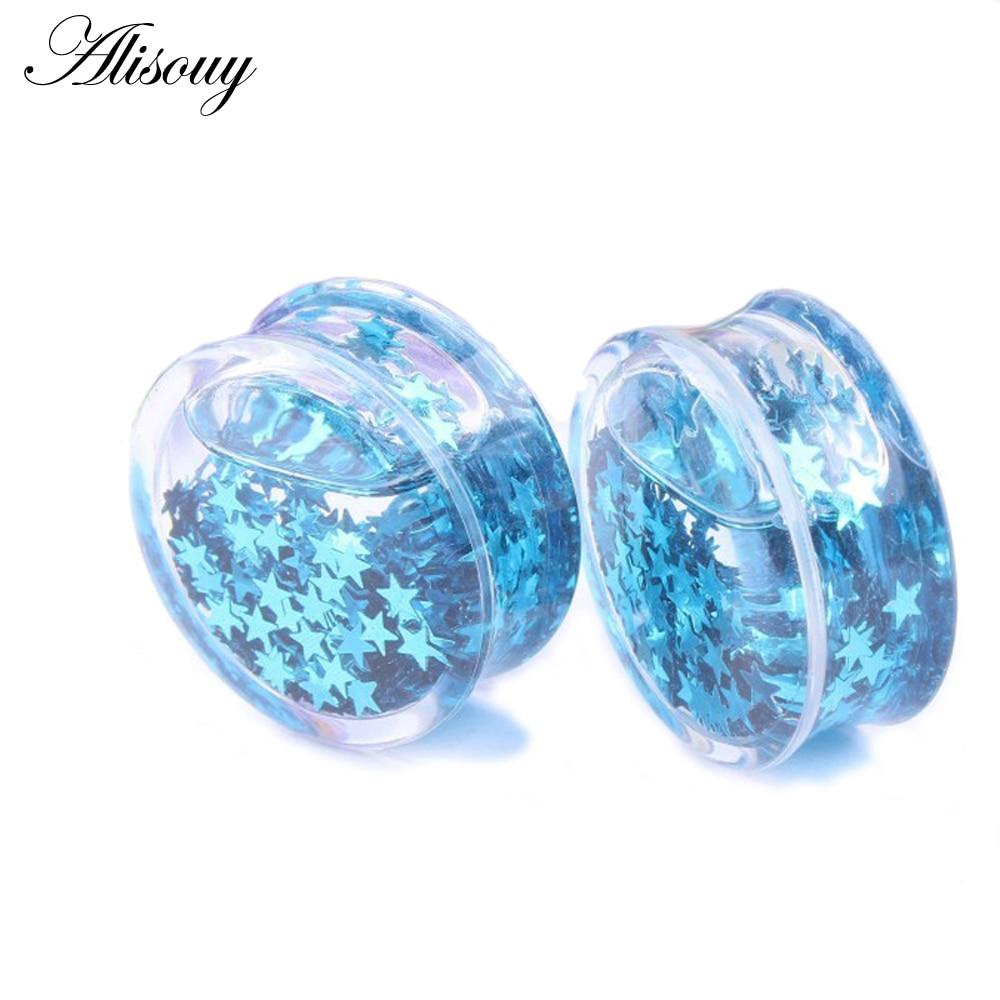 Glitter Stars Acrylic ear stretchers