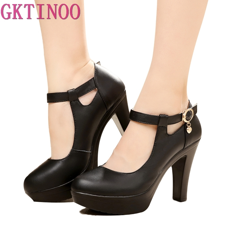 GKTINOO Quality Women's Leather Shoes With Heels 2020 Platform Mary Jane Shoes Women Pumps OL Office Work Shoes Woman High Heels