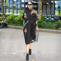 2019 Spring Summer Dress Black Women Embroidered Sequin Big Size Loose Short Sleeve Single Breasted Cardigan Shirt Dress