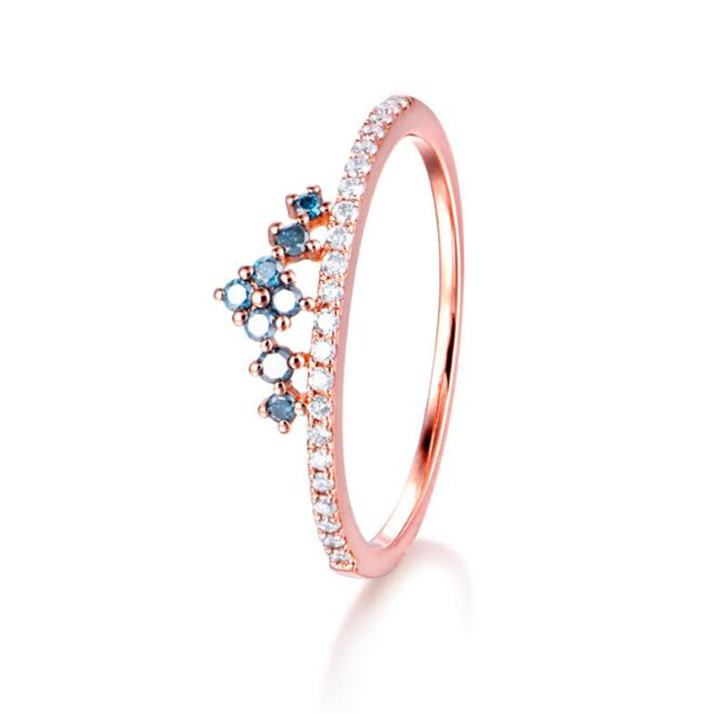 цена на 18K Gold Wedding Jewelry Finger Crystal Crown Rings For Women New Lover Cubic Zirconia Ring Female Engagement Party 1.27G